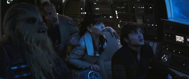 Alden Ehrenreich, Woody Harrelson, and Emilia Clarke in Solo A Star Wars Story